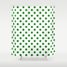 Small Polka Dots - Green on White Shower Curtain