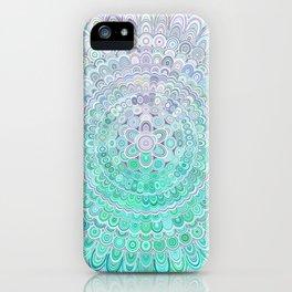 Turquoise Ice Flower Mandala iPhone Case