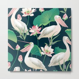Flock of flamingo Metal Print