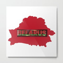 Belarus Flag and Red Map Metal Print