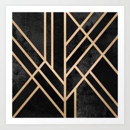 Art Deco Black Art Print