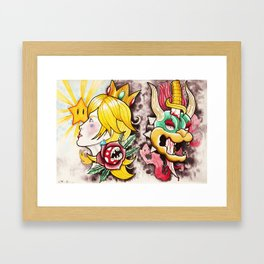 Peach and Bowser Tattoo Flash Framed Art Print
