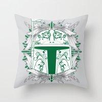boba Throw Pillows featuring Boba Tatt by Matthew Bartlett