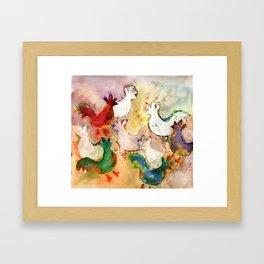Pecking Chickens Framed Art Print