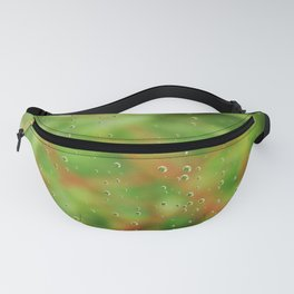 Rain drops on glasshouse window Fanny Pack
