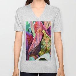 Exotic, Vibrant Colorful Leaves Art Photo Unisex V-Neck