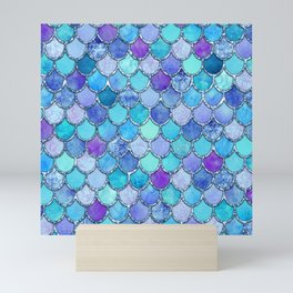 Colorful Blues Mermaid Scales Mini Art Print