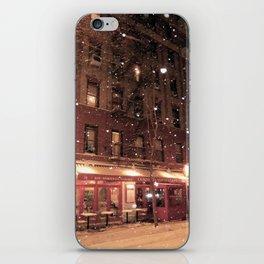Cornelia St Cafe in the snow iPhone Skin