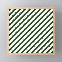 Large Dark Forest Green and White Candy Cane Stripes Framed Mini Art Print