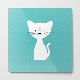 Blue white cat Metal Print