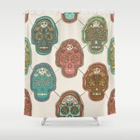 mexican Shower Curtains featuring Mexican Skull  by Sezgen