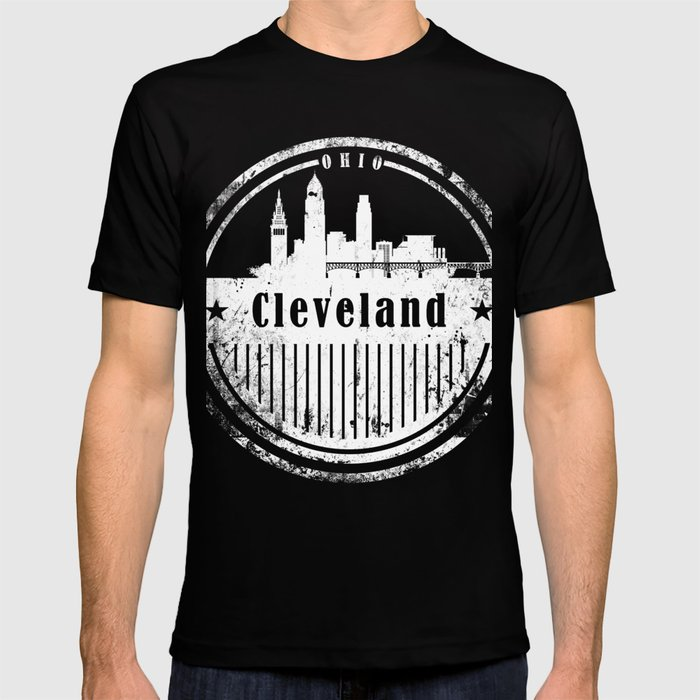 7b0afd1f735f Cleveland Skyline Vintage T-Shirt T-shirt by dimodesigns   Society6