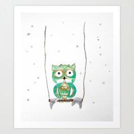 Owl Fun #1 #mint #green #gold #drawing #decor #art #society6 Art Print