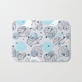 Monstera (Bubbles) - Blue Bath Mat