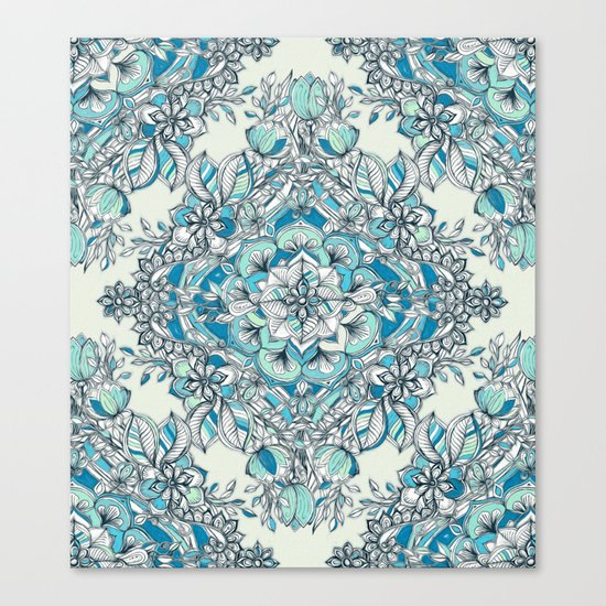 Floral Diamond Doodle in Teal and Turquoise Canvas Print