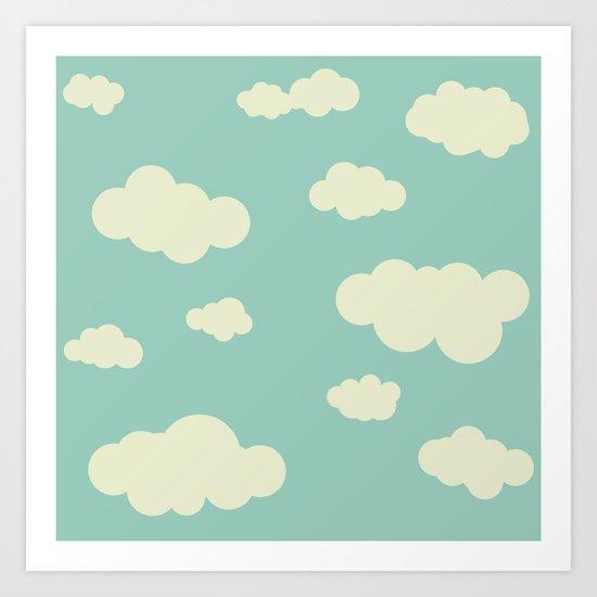 vintage clouds Art Print