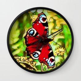 Peacock Butterfly Dream | Aglais io - Oil Painting Wall Clock