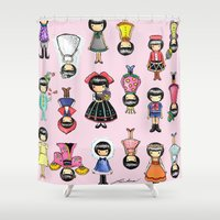 girly Shower Curtains featuring Girly by Ho Man Law