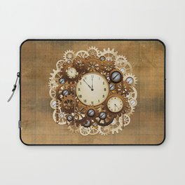 Steampunk Vintage Style Clocks and Gears Laptop Sleeve