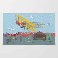 aviation Area & Throw Rugs featuring First Flight 1903 by Magnetic Boys