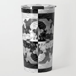 Swimming Glyphs and Sunflowers: Checkered Version Travel Mug