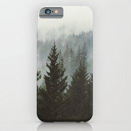 Wanderlust Forest II - Mountain Adventure in Foggy Woods iPhone Case