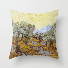 Olive Trees by Vincent van Gogh Throw Pillow