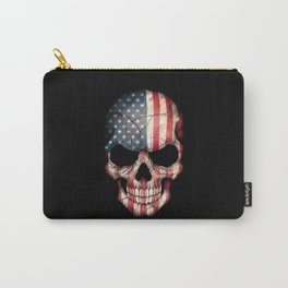 American Flag Skull on Black Carry-All Pouch