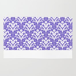 Art Deco Damask Purple and White Rug