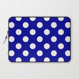 Duke blue - blue - White Polka Dots - Pois Pattern Laptop Sleeve