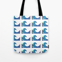 hokusai Tote Bags featuring Hokusai Rainbow_Bs by FACTORIE