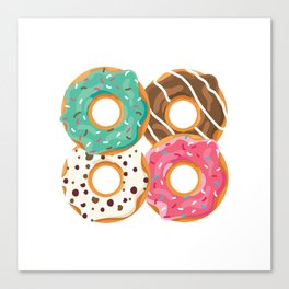 Donut Squad Dough Desserts Doughnut Snack Yeast Pastry Colorful Sprinkles Rainbow Pastry T-shirt Canvas Print