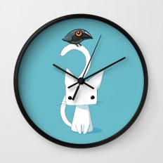 Cat and Raven Wall Clock