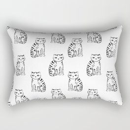 Cat linocut black and white minimal pattern cat lover gifts Rectangular Pillow