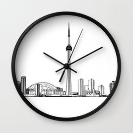 Toronto Skyline - Black on White Wall Clock