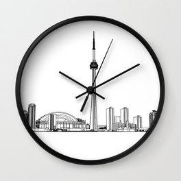 Toronto Skyline - Black on White Wall Clock