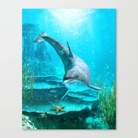 dolphin Canvas Prints featuring Dolphin by Simone Gatterwe