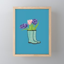 Rain Boots and Purple Tulips With Water Droplet/ Spring Decor Framed Mini Art Print