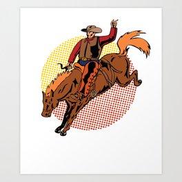 Vintage Retro Western Cowboy Horseback Rodeo Gift  Art Print