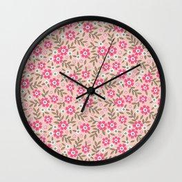 Pretty floral pattern. Pink flowers. Wall Clock