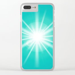 turquoise and light effect Clear iPhone Case
