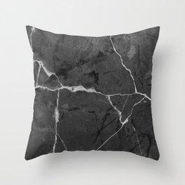 Black minimal marble Throw Pillow