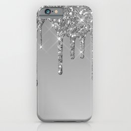 Gray & Silver Glitter Drips iPhone Case