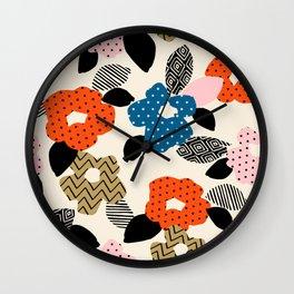 Retro Boho Chic Floral Wall Clock
