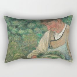 Camille Pissarro - The Gardener - Old Peasant with Cabbage Rectangular Pillow