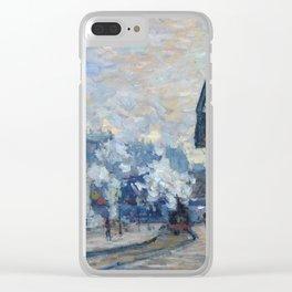 """Claude Monet """"La Gare Saint-Lazare, vue extérieure"""" Clear iPhone Case"""