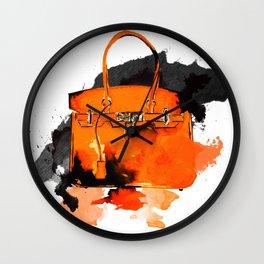 Orange  Bag -  Fashion Illustration - Handbag - Fashion brand  Wall Clock