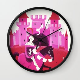 Medieval knight and Castle Wall Clock