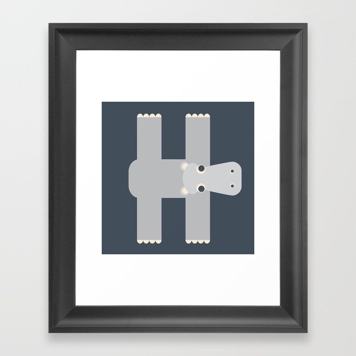 Letter H // Animal Alphabet // Hippo Monogram Framed Art Print