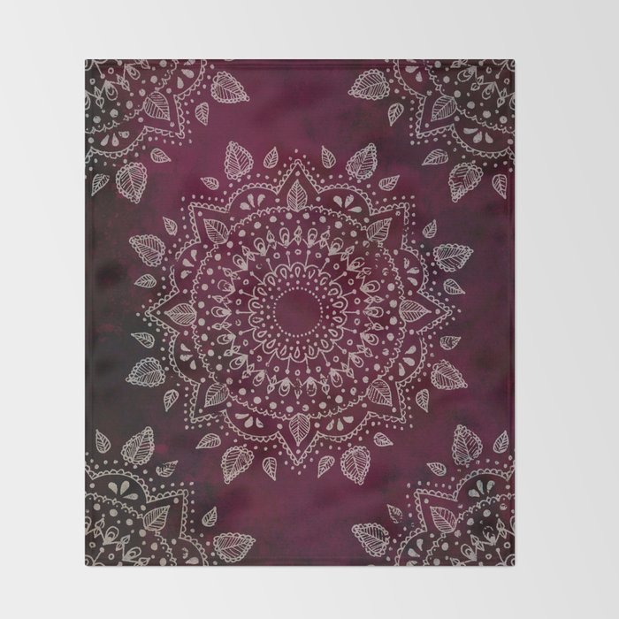 Wine Mandala Throw Blanket